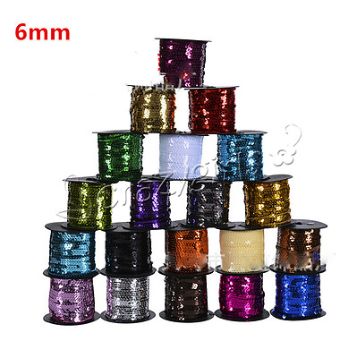 5/20Yards Sequins Paillettes Strand Line Sew on Trim Spangles DIY 6mm M