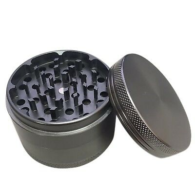 Grinder Herb Tobacco Spice 4 Piece Magnetic 2 Inch Black Aluminum With Scoop new