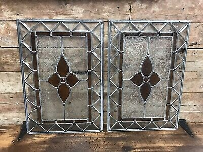 Pair Of Antique Vintage Leaded Stained Glass Floral Amber Windows FREE SHIPPING