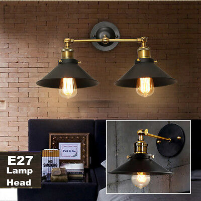 Modern Vintage Industrial Sconce Single Double Head Wall Light Lamp Fitting