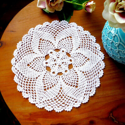 Round Lace Hand Crochet Floral Table Mat Cloth Doily Coaster Hollow Handmade