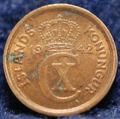 Iceland, 1942 Eyrir, Red Uncirculated, spots, No Reserve,                  mab10