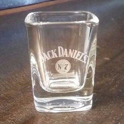 Jack Daniel's Old No 7 Brand Shot Glass Square Clear With White Logo