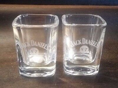 Pair Of Jack Daniel's Old No 7 Brand Shot Glass Square Clear With White Logo