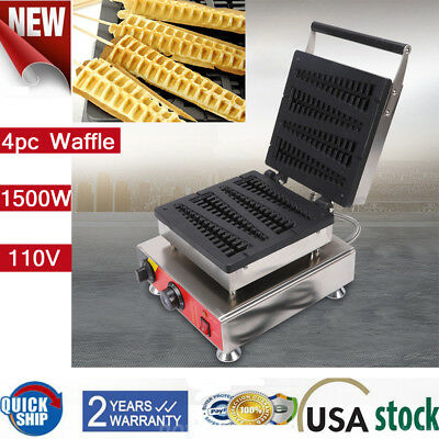 Commercial Nonstick Electric 4pc Lolly Waffle A Stick Maker Baker Machine 1.5KW