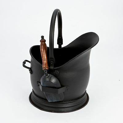 Black Fireside Coal Bucket & Shovel Strong Traditional Scuttle With Handle