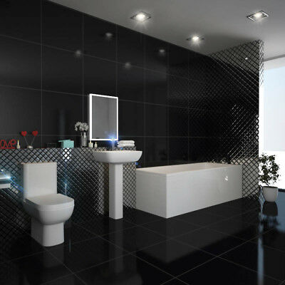 Laguna 1800mm Complete Straight 800mm Bath Suite with Toilet Basin Waste and Tap