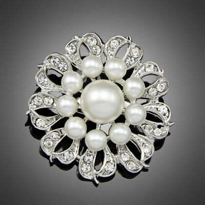 Fashion Jewelry gift wedding pageant women lady girls pearl crystal brooch pin