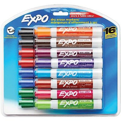 EXPO Low Odor Dry Erase Markers, Assorted Colors Chisel Tip, 16 ct.