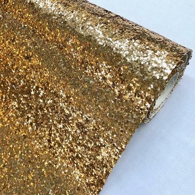 Antique Gold Chunky Glitter Fabric Sparkly Vinyl Taped Backed Material Decor 54""