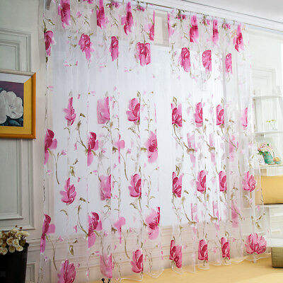 1Pc Beauty Flower Leave Window Curtain Sheer Voile with Rod Pocket 100x200cm