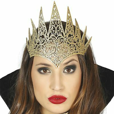 Adult Golden Queen Tiara Crown Royal Wicked Evil Medieval Fancy Dress Book Week