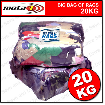 20 KG Mixed Bag Of Rags, Cleaning Wipes & Polishing Cloths Washed & Recycled
