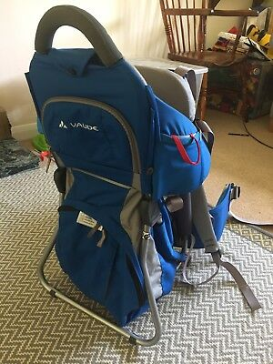 Vaude Sport Blue Baby Child Carrier Backpack Rain Hood Sunshade Great Condition
