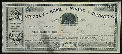 Grizzly Ridge Mining Company Stock Certificate