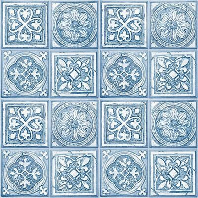 Mosaic Tile Moroccan Wallpaper Squares Tiling White Blue Paste The Wall Vinyl