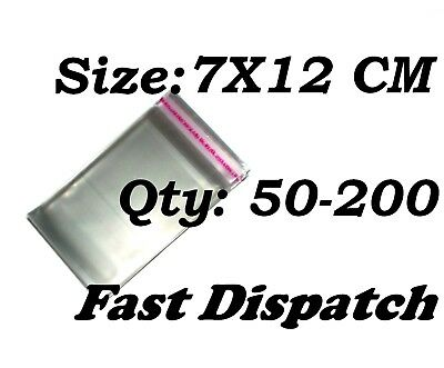 50 - 200 Cellophane Bags 7 X 12 cm Clear Cello Display Self Adhesive Peel & Seal