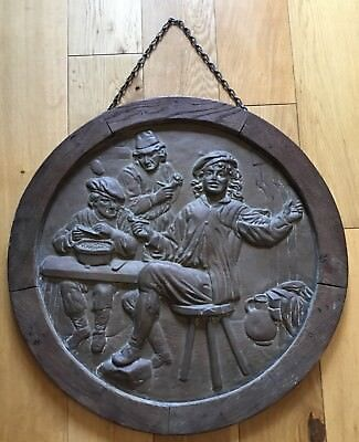 Large Old Vintage Round Copper Relief Plaque Picture Pub Scene In Wooden Frame