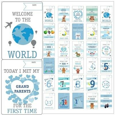 28 Baby Boys  Memorable Moments Milestone Cards New Baby Shower Gift (B)