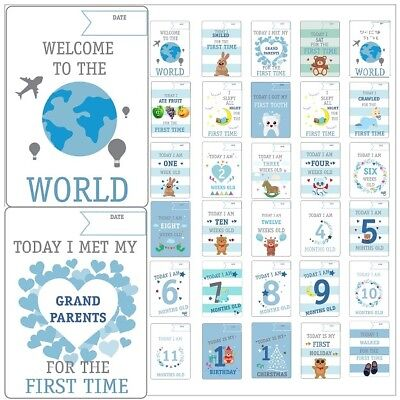 29 Baby Boys  Memorable Moments Milestone Cards New Baby Shower Gift (B)
