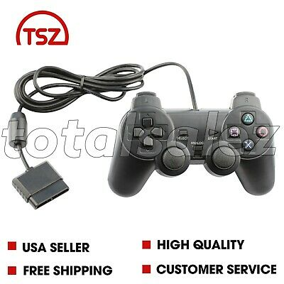 For Sony PS2 Playstation 2 Blue Twin Shock Game Controller JoyPad Remote