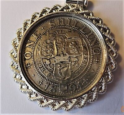 Genuine Antique Victorian .925 Stirling Silver 1894 Shilling in a coin mount