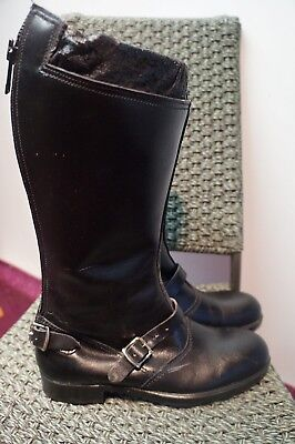e3d0b3e979ba8 VINTAGE 70,S AB LEATHER MOTORCYCLE BOOTS SHEEPSKIN LINED STEEL TOE SIZE 6