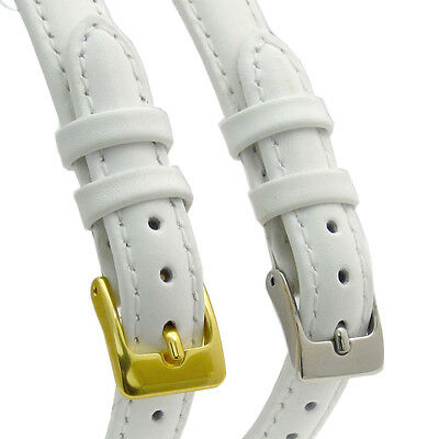 Ladies White Leather Watch Strap Band Choice of Sizes 8mm 10mm 12mm 14mm