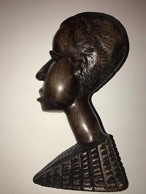 African Sculpted Artistry,Hand Carved, Detailed Wooden Bust, Vintage Collectible