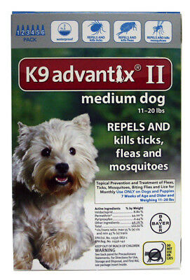 Bayer K9 Advantix II for Medium Dogs 11-20 Lbs 6 Doses