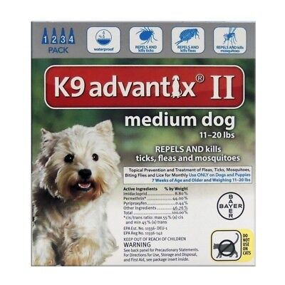 Bayer K9 Advantix II for Medium Dogs 11-20 lbs - 4 Doses