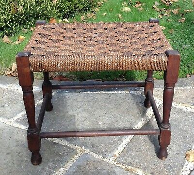 Old Vintage 1930/40s Stained Dark Oak & Woven String Rope Stool