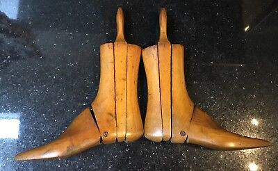 Vintage Antique Pair Of Wooden 3 Part Adjustable Boot Lasts Wood Treen Trees