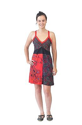 Tattopani Women Summer Strap Dress With Embroidery And Patch Design