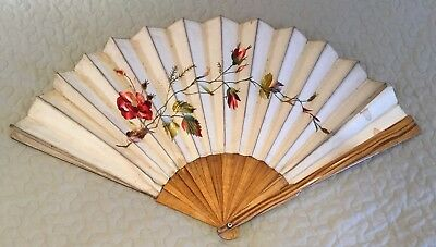 Vintage Antique Chinese Silk Floral Embroidered Hand Fan