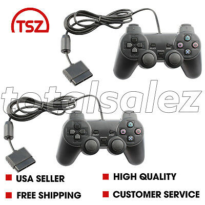 2 For Sony PS2 Playstation 2 Black Twin Shock Game Controller JoyPad Remote