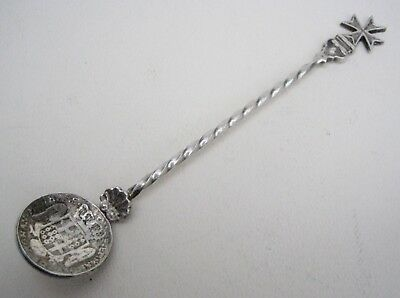 Antique or Vintage Maltese 0.917 Solid Silver Coin Spoon