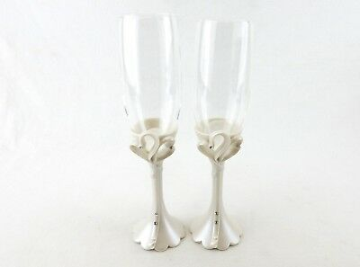 Wedding Reception Toasting Flutes ~ Two Hearts Champagne Glasses, Cassiani #2400
