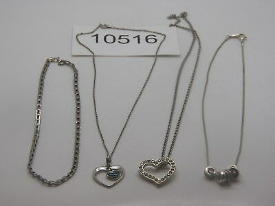 Vintage Jewelry Necklace Lot Of 4 Silver Tone Heart Pendant Design     10516
