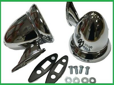 Universal Classic Car Chrome Bullet Wing Mirrors MG Triumph Lotus Healey Ford