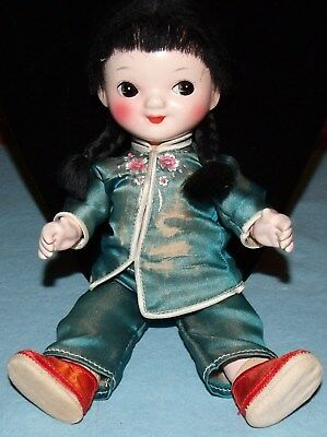 """Vintage 1970s Chinese Doll, Hand paiinted, Articulated Head, Arms & Legs; 9"""" Hi"""
