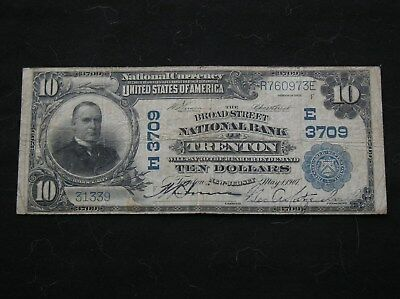 1902 $10 National Currency The Broad Street National Bank Trenton NJ F