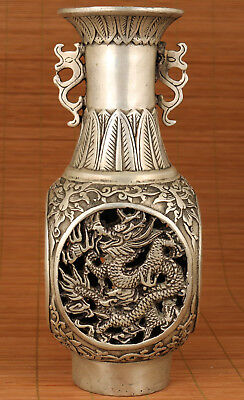 Big Chinese Copper tibet silver Hand hollow out Carved Dragon Phoenix Statue