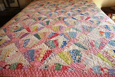 Antique Fan Quilt Hand Made - Youth - Wall Hanging - Restored 68X70 Janns Quilts