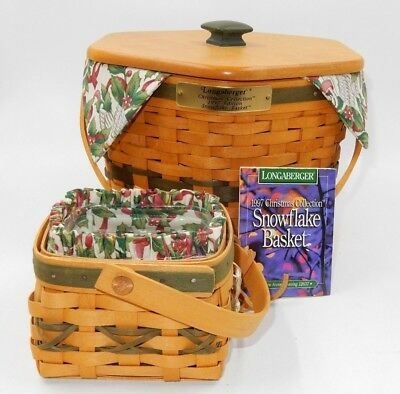 Longaberger Snowflake Basket Set (2 Baskets) With Liners And Protectors ~ 1997