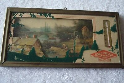 Vintage Silhouette Reverse Painted Advertising Thermometer *Green Paint*