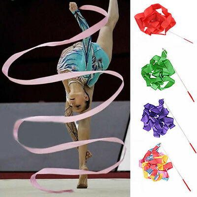 4M Dance Ribbon Gym Rhythmic Art Gymnastic Streamer Twirling Rod Tempting Stick