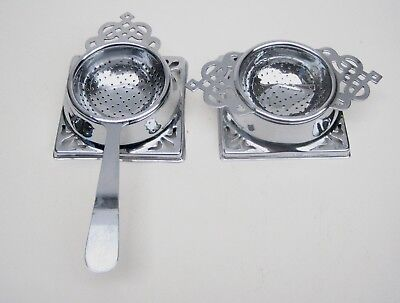 2 Vintage Chrome Plated Tea Strainers c1940-50's with Drip Bases Good Condition