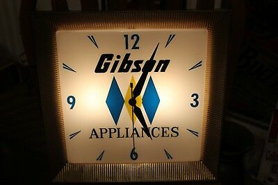 Vintage Rare Gibson Appliances Lighted Advertising Clock Runs Great 1960's
