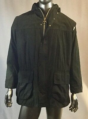 BARBOUR Men's Green Cotton WAXED Hoodie Jacket DURHAM with Check C42/107 cm